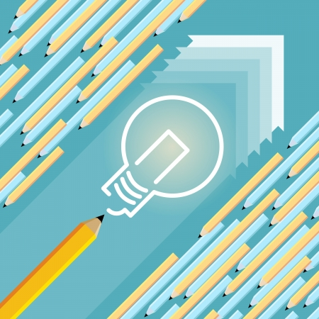 think different: Vector illustration of large pencil drawing a lightbulb by going against mainstream current.