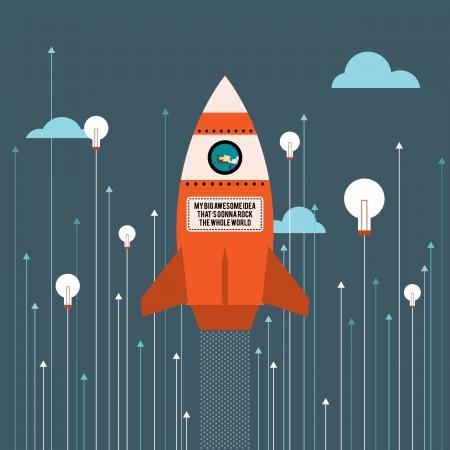 Vector illustration of big idea business innovation rocket. Free font