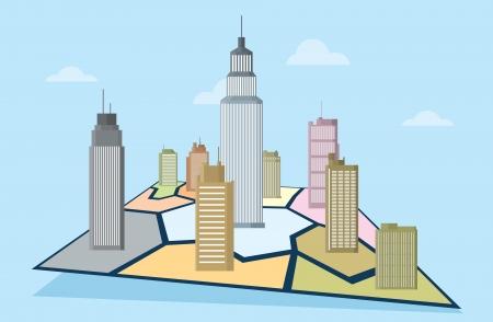Vector illustratie van zakelijke commerciële torens op een territoriale kaart illustreert marktaandeel.