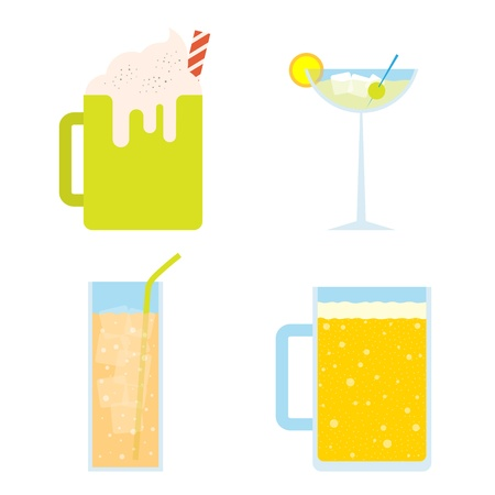 Vector illustration of four cold beverages.