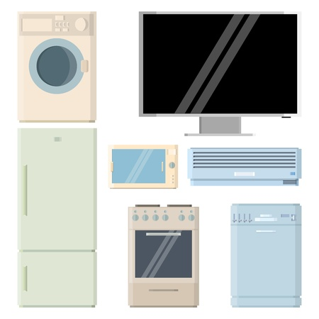 air conditioner: Vector illustration of several home appliance electronics.