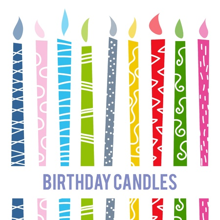 Vector illustratie van kleurrijke cartoon verjaardag kaarsen.