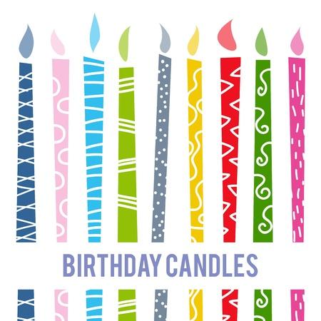 kerze: Vektor-Illustration von bunten Cartoon Geburtstagskerzen.