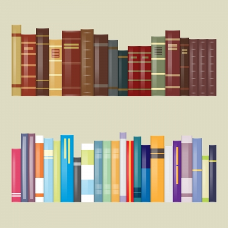 books new books: Vector illustration of flat filtered design old and modern new books.