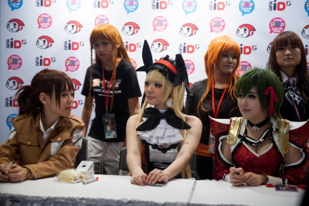 the autograph: Jakarta, Indonesia, 8th September 2013: Several anime stars from Japan on autograph session in Anime Festival Asia - Indonesia 2013 event at Jakarta Convention Center, Jakarta, Indonesia.