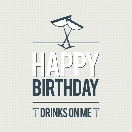 drink me: illustration of birthday greeting wish card with free drinks.