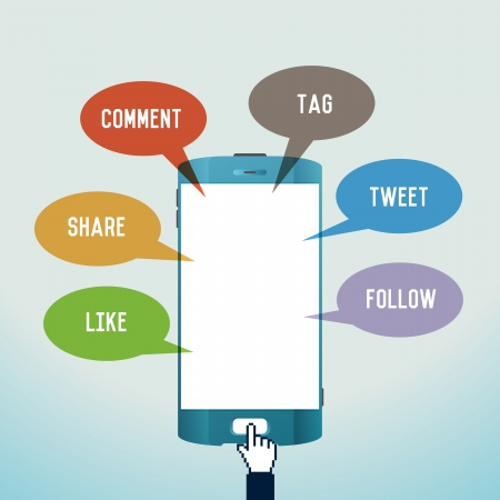 tweet: illustration of mobile social media concept  Illustration