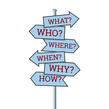 when: illustration of several question arrow signs  Illustration