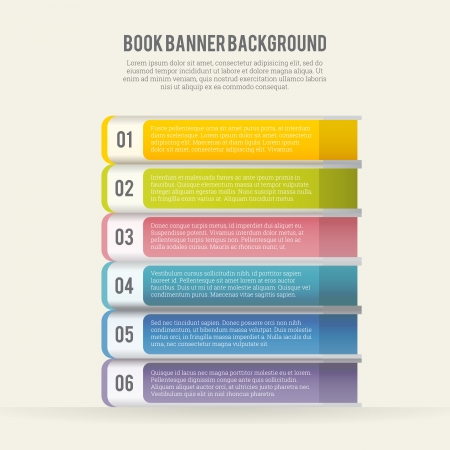 illustration of abstract colorful book banners background  Ilustracja