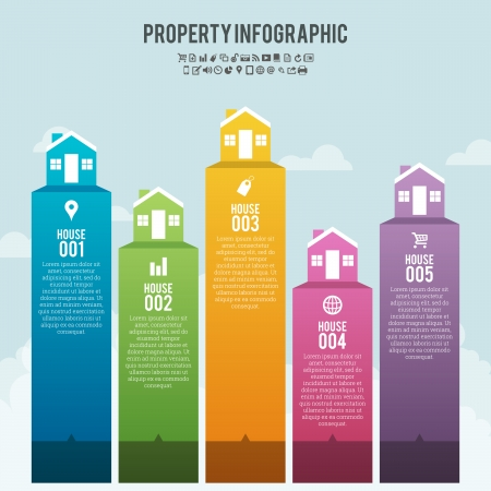 housing estate: Vector illustration of property infographic banner background.