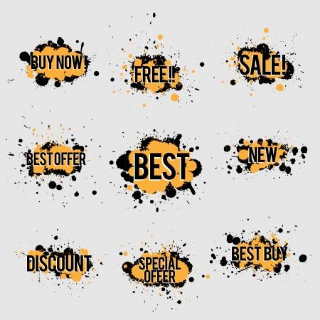 best ad: Vector illustration of sale marketing label banner paint splash backgrounds. Illustration