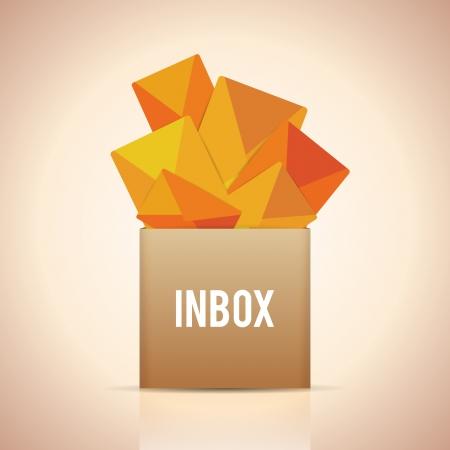 Vector illustratie van een inbox doos vol ongelezen mails.