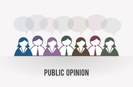 opinions: Vector illustration of several people icons share their opinions.