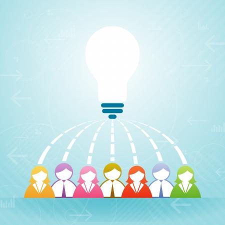 Vector illustratie van een aantal mensen samen een idee.