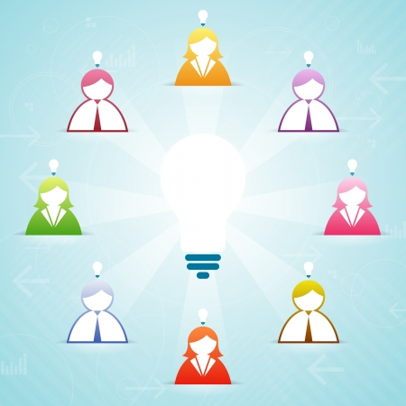 Vector illustration of several people contributing their ideas into a larger collaborative idea.