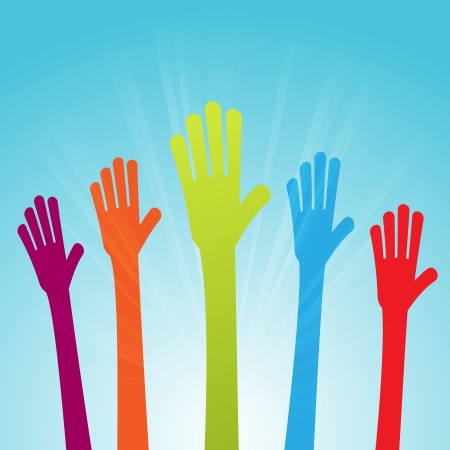 opinions: Vector illustration of colorful raised hands voicing colorful opinions.