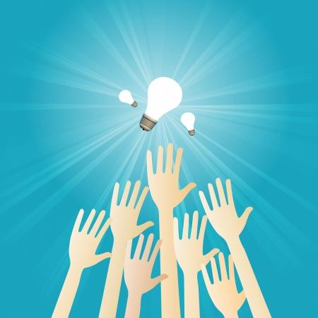 scrambling: Illustrazione vettoriale di diverse mani rimescolando per ottenere alcune lampadine.