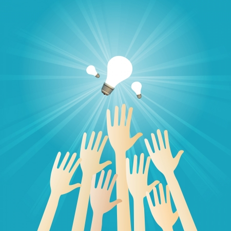 breakthrough: Vector illustration of several hands scrambling to get some lightbulbs.