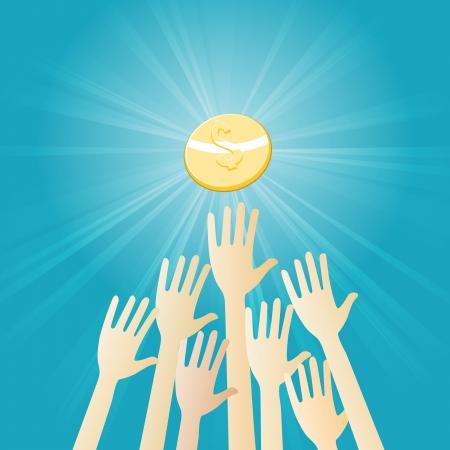 scrambling: Illustrazione vettoriale di diverse mani rimescolando per ottenere una moneta da un dollaro d'oro.