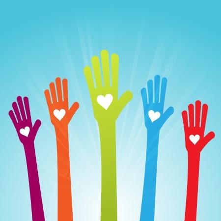 manos levantadas: Ilustración vectorial de varias manos de colores con corazones en.
