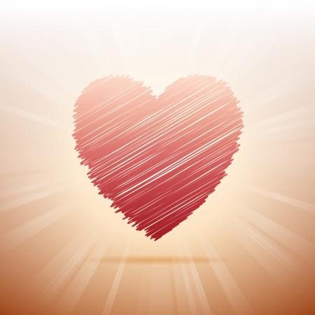 scribbled: illustration of a red scribbled heart symbol.