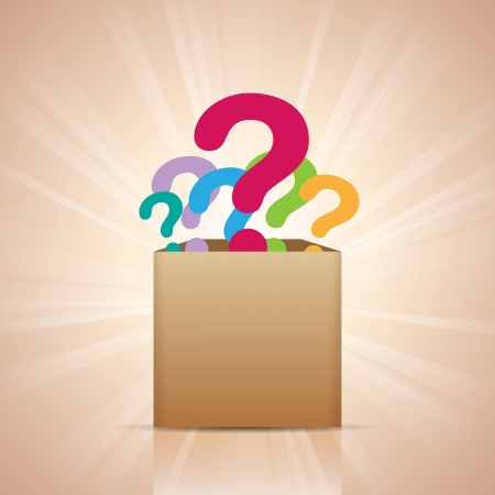 inquiry: illustration of a box full of colorful question marks.