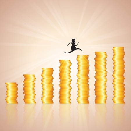 hopping: illustration of man silhouette hopping on gold coin ladder like graphic. Illustration