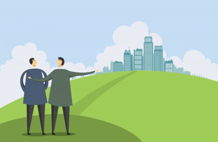 property investment: Vector illustration of a man pointing out a city to another man.