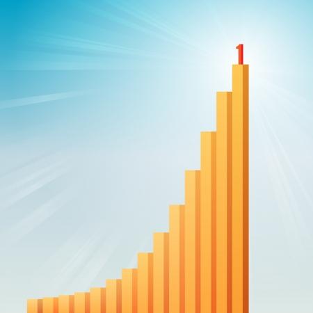 upward: Vector illustration of upward bar graphics with number one on the highest bar. Illustration