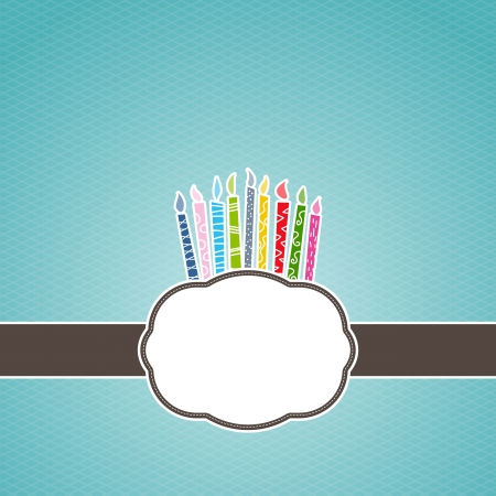 Vector illustration of birthday candles on top of greeting card frame. Illustration