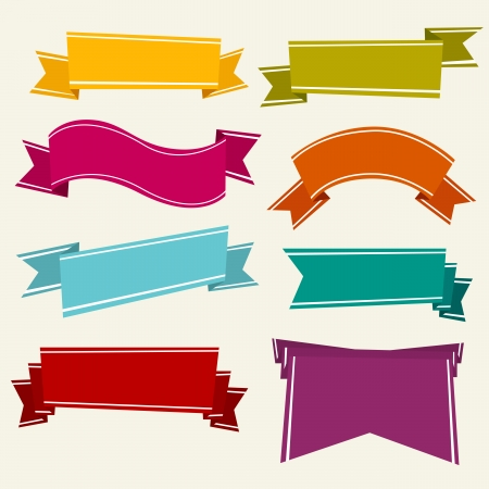 Vector illustration of various several colorful cartoon ribbons. Stock Vector - 25042184