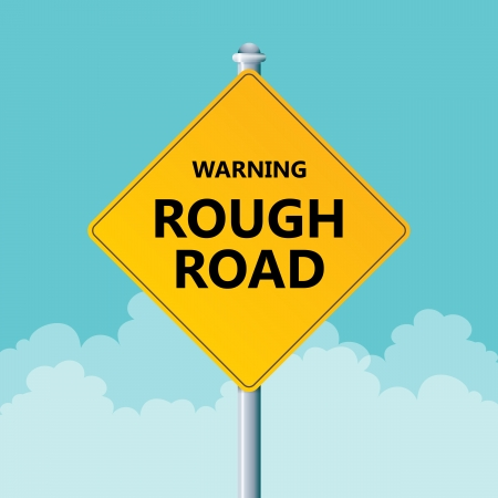 Vector illustration of a warning road sign warning a rough road. Vector
