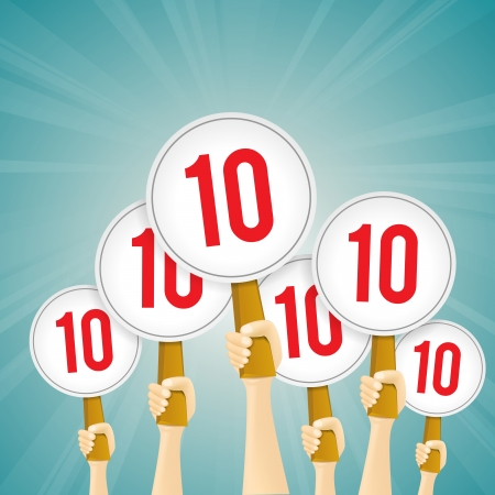 panels: Vector illustration of several hands holding perfect 10 score signs.