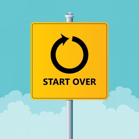 Vector afbeelding van een verkeersbord om opnieuw te beginnen. Stock Illustratie