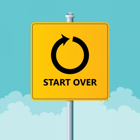 Vector illustration of a road sign to start over.