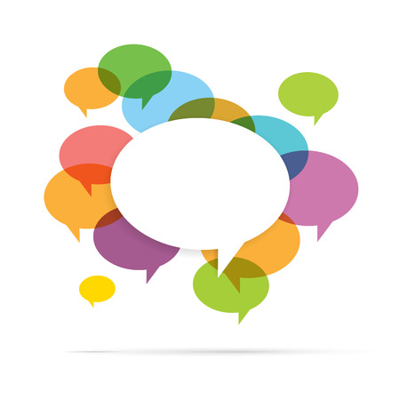 Vector illustration of colorful speech bubble copyspace. Ilustração