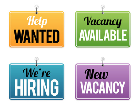 wanted: Vector illustration of several employment opportunity signs. Illustration