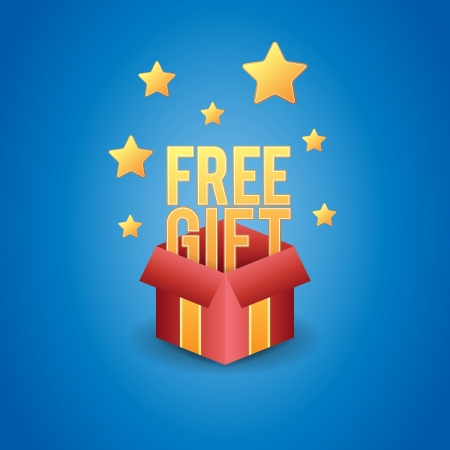 free gift: Vector illustration of a magical box showing free gift.