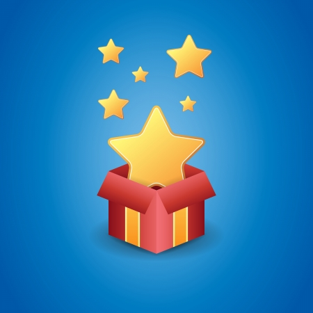freebie: Vector illustration of a magical box showing golden stars.