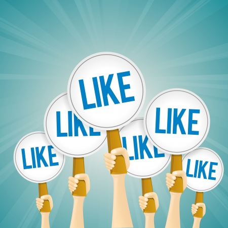 Vector illustration of several hands holding likes signs. Illustration