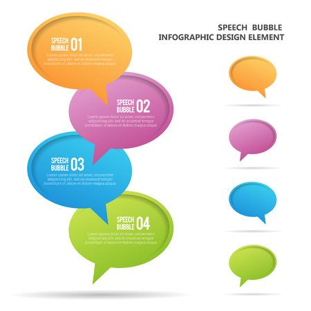 Vector illustration of colorful vibrant speech bubble infographic design elements.