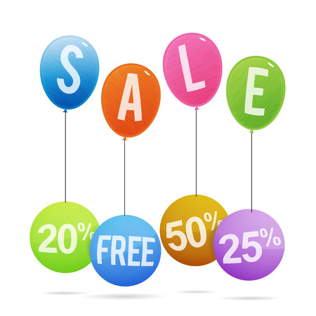 Vector illustration of colorful sale tags hanging on colorful balloons. Vector