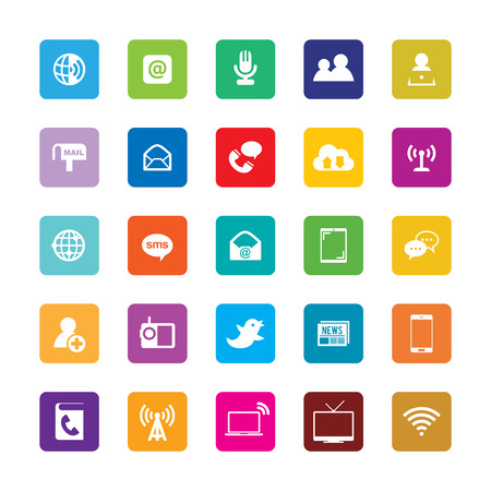 Vector illustration of various colorful communication themed icons. Illustration