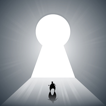 escape key: Vector illustration of silhouetted man walking to a large bright keyhole door.