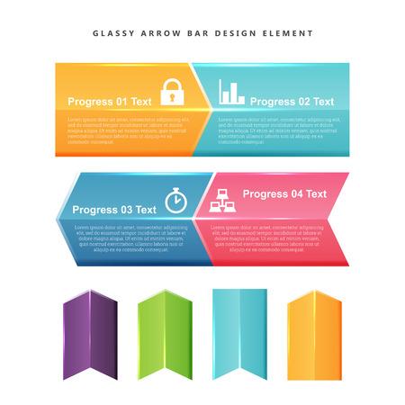 Vector illustration of Glassy Arrow Bar Design Element
