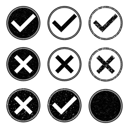 validation: Vector illustration of approved and denied stamp icons.