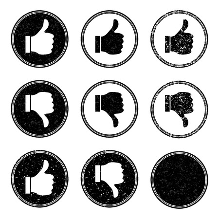 Vector illustration of thumb up and down stamp icons. Vector