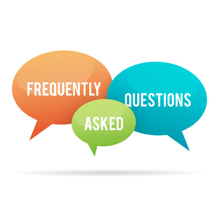 frequently asked questions: Vector illustration of frequently asked questions, or FAQ, talk bubbles. Illustration