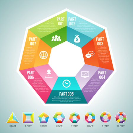 Vector illustration of a set of polygon infographic elements, with provided are 3, 4, 5, 6, 7, 8, 9 and 10 parts polygon sets.
