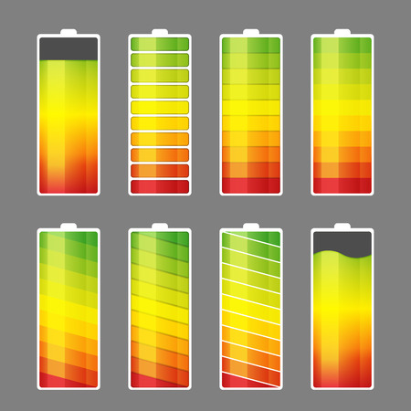 capacity: Vector illustration of battery energy meter icons.